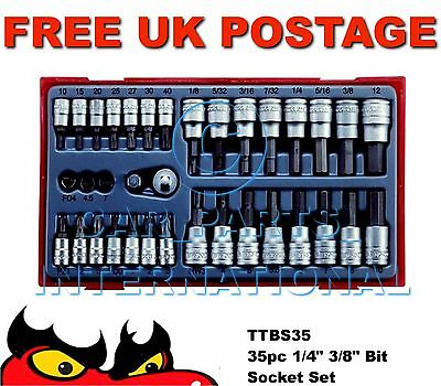 "Teng TTBS35 35pc 1/4"" 3/8"" Bit Socket Set (Metric AF PZ Torx Hex Allen Key Flat)"