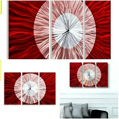 Wall Abstract Artwork Clock Sculpture Contemporary Hand Painted Red Metal Art