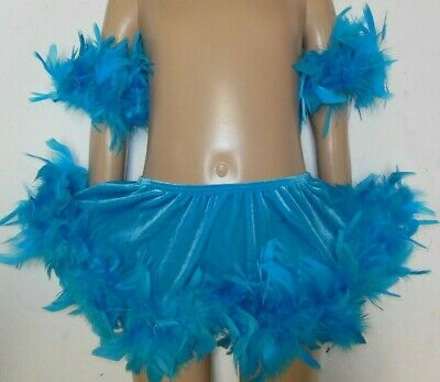 Nwt Velvet Spandex Circle Skirt Tap Jazz Turquoise Feathered Child Ladies Dance