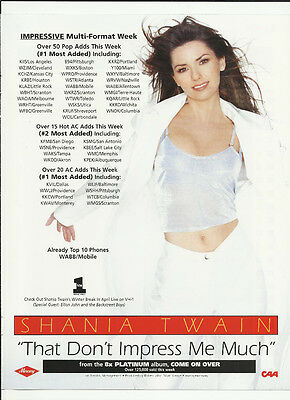 SHANIA TWAIN That Don't Impress Me Much TRADE AD POSTER for Come on Over CD 1999