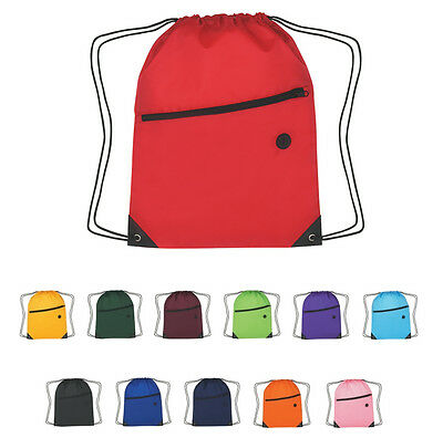 50 DRAWSTRING BACKPACKS With Front Zippered Pocket - MORE PRODUCTS IN OUR STORE