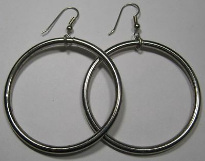 VINTAGE ANTIQUE NICKEL Plated Steel 51mm Hoop Loop Dangle Earring 2pcs - 1 pair