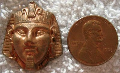 VINTAGE COPPER - Egypt Pharoah Head Hollowback Stamping - FINDINGS - 1 Piece