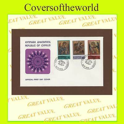 Cyprus 1976 Christmas set First Day Cover, Dercoration design