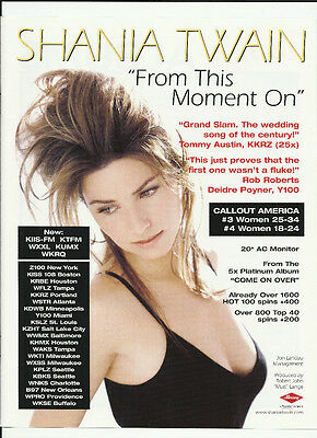 SHANIA TWAIN From this moment on TRADE AD POSTER for Come on Over CD 1998 MINT