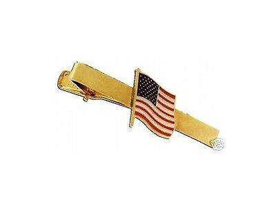 Police Army American Usa Us United States Flag Dress Gold Uniform Tie Clip Bar