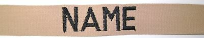 MILITARY NAME TAPE DESERT TAN with HOOK FASTENER up to 6 inches