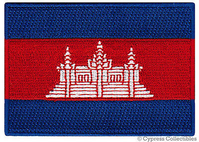 CAMBODIA FLAG embroidered iron-on PATCH CAMBODIAN EMBLEM Kampuchea APPLIQUE
