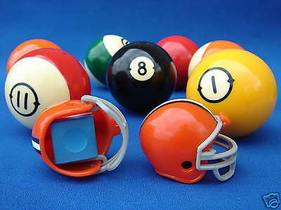 2 CLEVELAND BROWNS POOL BILLIARD CUE with MASTER CHALK NFL FOOTBALL HELMETS