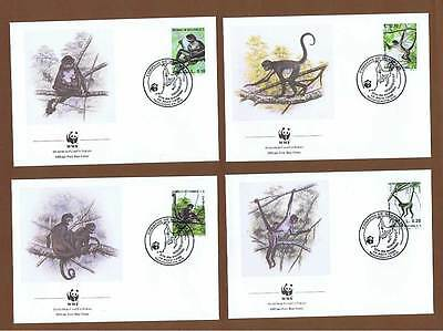 Honduras 1990 four WWF First Day Covers, spider monkey