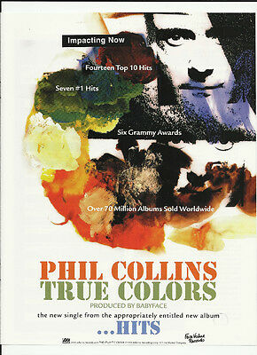 Genesis PHIL COLLINS True Colors TRADE AD POSTER for Hits CD 1998 MINT