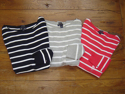 New Authentic NWT TOMMY HILFIGER Womens Sweater Pima Cotton Boat Neck Striped