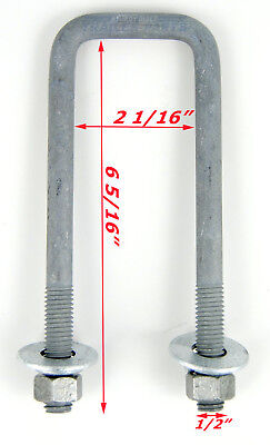 "(Qty 4) Boat Trailer U-Bolt 1/2"" x 2"" x 6 5/16"" Square Galvanized Square Ubolt"