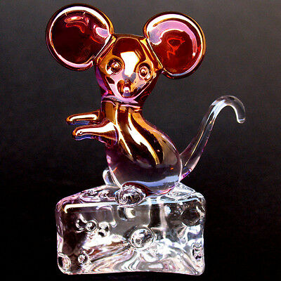 Mouse and Cheese Figurine Hand Blown Glass Gold Crystal