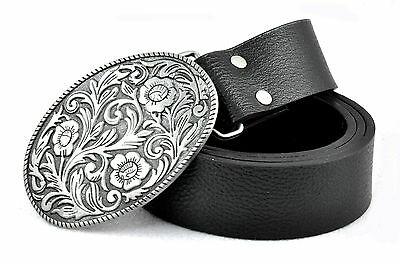 Western Genuine Leather Men's Waist Belt Waistband Buckle Strap Oval 110-120cm