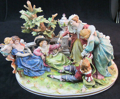 italian capodimonte grouping angel lady man tree vase italy hand painted signed