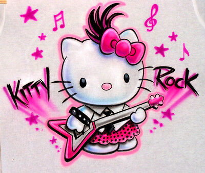 Airbrushed Hello Kitty Rock T-Shirt Custom made Personalized Airbrush