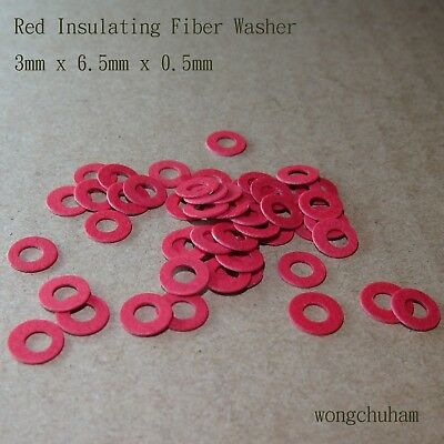 50pcs Red Insulating Fiber Washer (3mm x 6.5mm x 0.5mm)