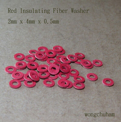 50pcs Red Insulating Fiber Washer (2mm x 4mm x 0.5mm)