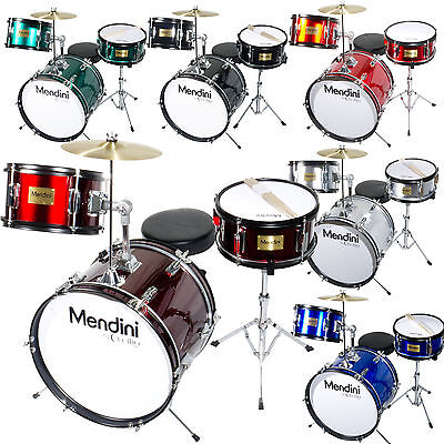 "Mendini 16"" Junior Kid Child Drum Set Kit W/ Throne ~Black Blue Green Silver Red"