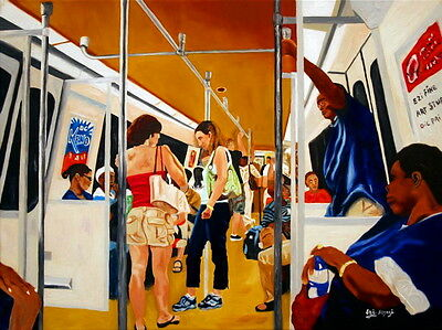 153 - Painting by Ezi - Riders Subway or Metro or Tube - New York City - Signed