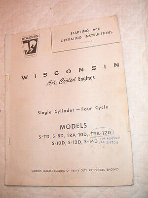 Wisconsin 7-14 HP Air Cooled Engines Owners Manual