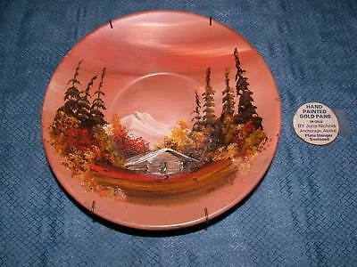 HAND PAINTED GOLD PAN IN OILS by JUNE NICHOLS ALASKA