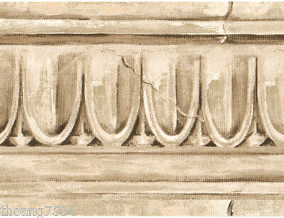 Architectural Crown Molding Moulding Faux Stone Egg Dart Beige Wall paper Border