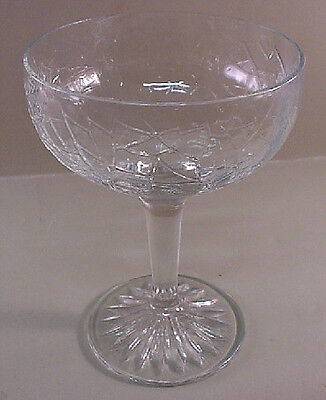"L. E. Smith HTF 4 3/4"" Goblet By Cracky Crackle Clear Glass EUC"