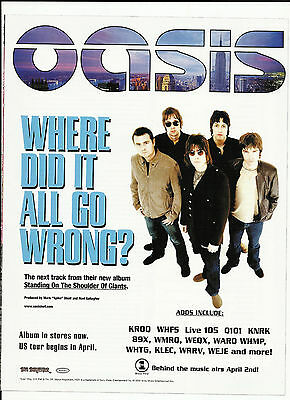 OASIS Where did it all TRADE AD Poster for  Standing on CD Noel Gallagher Liam