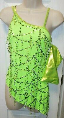 NEW Jazz Tap Latin Dangle SEQUIN Asymmetrical Dance Top FOIL Ch Ladies 2 Colors