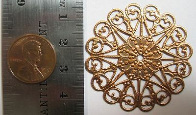 VINTAGE COPPER PLATED STEEL - 27mm Heart Edge Filigree Round w/ Hole - 2 Pieces