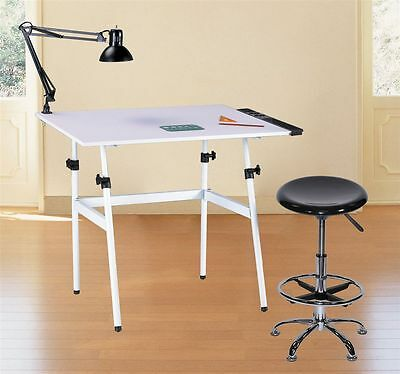 Folding Drawing Table Desk Combo w/ Stool, Side Tray & Lamp | Hobby Art Drafting