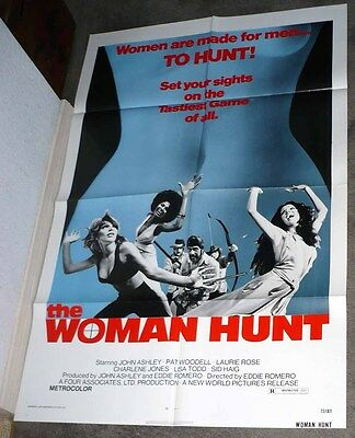 THE WOMAN HUNT poster PAT WOODELL/LISA TODD original 1972 EXPLOITATION one sheet