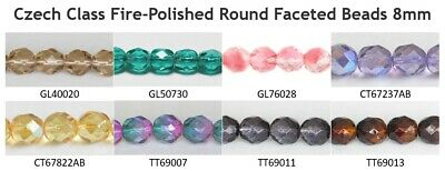 Czech Glass Fire-Polished Round Faceted Beads 8mm (75pcs)