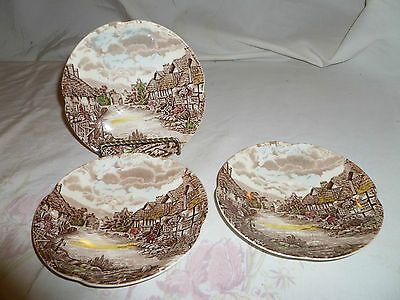 Vintage Set of 3 Olde English Countryside Saucers Made by Johnson Bros, England