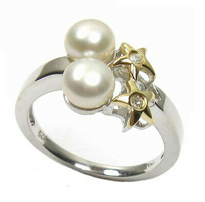 6mm AAA White Pearl 14K Yellow Gold & Silver Diamond Ring