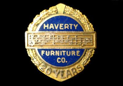 Haverty Furniture Company 20 Years Employee ~ Marked 10K ~ Lapel Badge