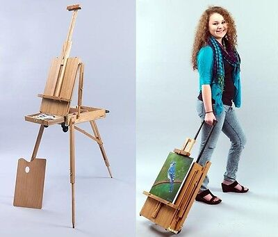 Rolling Mobile Wooden French Sketchbox Art Artist Easel | Painting Plein Air NEW