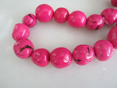 """Polished  Pink Tagua Nut Wood Beads 18mm to 20mm Round 15"""""""