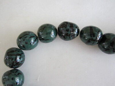 """Polished Dark Green & Black Tagua Nut Wood Beads 18mm to 20mm Round 15"""""""