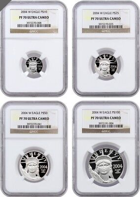 2004 4 Pc. Proof Platinum Set NGC PR70UCAM (Rare)