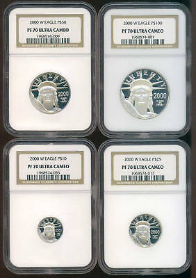 2000 MILLENIUM 4 Pc. Proof Platinum Set NGC PR70UCAM