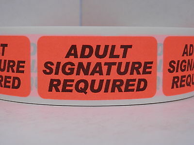 ADULT SIGNATURE REQUIRED USPS 1x2 Warning Label Sticker fluorescent red 500/rl