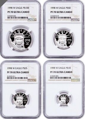 1998 4 Pc. Proof Platinum Set NGC PR70UCAM (Rare)