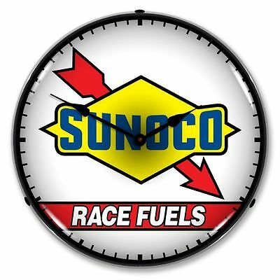 New Sunoco Race Fuel Gas Oil Advertising Backlit Retro Lighted Clock - Free Ship