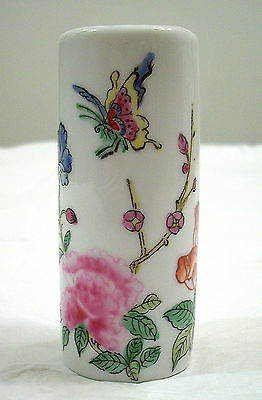 Oriental Objects D'art Small Butterfly And Flowers Porcelain Bud Vase # 4