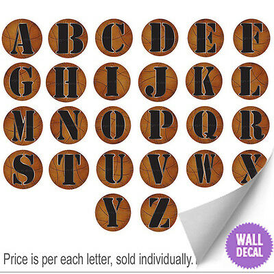 Name Wall Letters Alphabet Stickers Initial Decals Boys Sports Decor Basketball