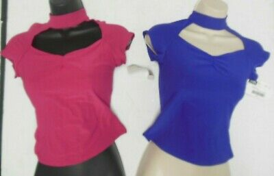 NWT BALLROOM CAPSLEEVE MOCK T NECK MATTE SPANDEX KEYHOLE FRONT TOP Ch/Ladies