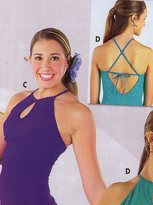 NWT BALLROOM  Crisscross Halter Camisole top Plum  ladies sizes matte spandex